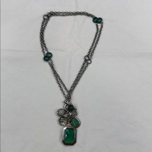 WHBM silver and green necklace